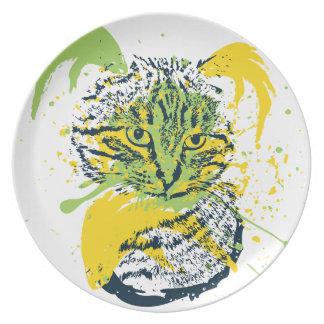 Cute Grunge Cat Portrait Party Plate