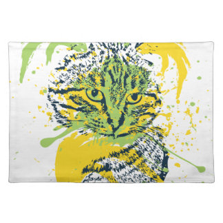 Cute Grunge Cat Portrait Placemat
