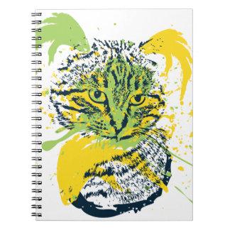 Cute Grunge Cat Portrait Spiral Note Book