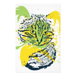 Cute Grunge Cat Portrait Stationery