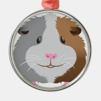 cute guinea pig face Silver-Colored round ornament
