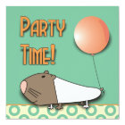 Cute Guinea Pig Kids Birthday Party Invitation
