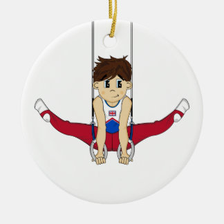 Cute Gymnast on Rings Ornament