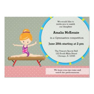 """Cute gymnastics girl 5"""" x 7"""" invitation card"""