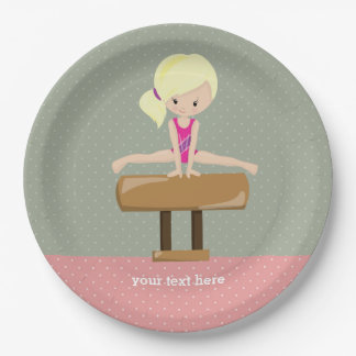 Cute gymnastics girl 9 inch paper plate