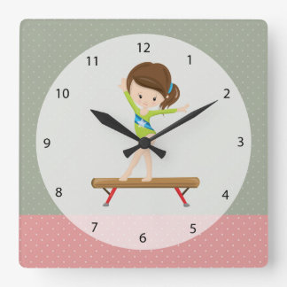 Cute gymnastics girl square wall clock