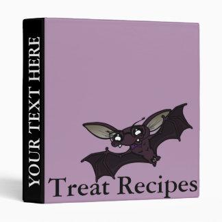 CUTE HALLOWEEN BAT RECIPE BINDER WITH STRIPES