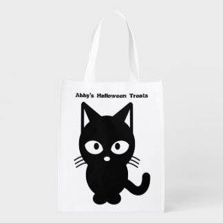 Cute Halloween Black Cat Customize It Reusable Grocery Bag