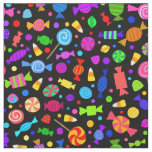 Cute Halloween candy on black pattern fabric