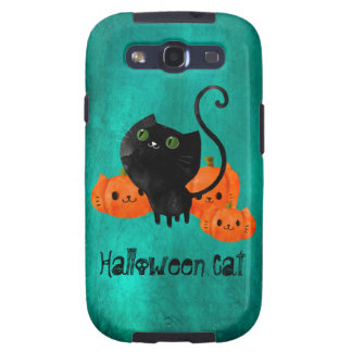 Cute Halloween cat with pumpkins Galaxy S3 Cover