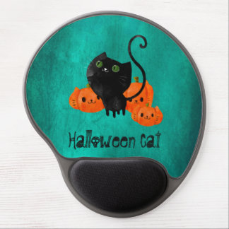 Cute Halloween cat with pumpkins Gel Mouse Pad