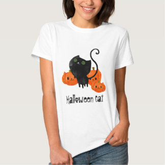 Cute Halloween cat with pumpkins Shirts