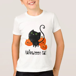 Cute Halloween cat with pumpkins T-Shirt