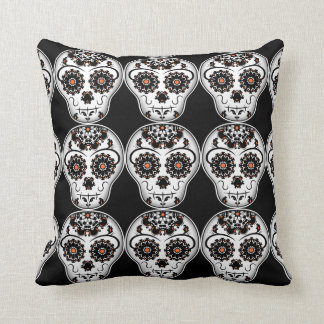 Cute Halloween colors Day of the Dead sugar skull Throw Pillow