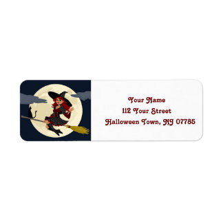 Cute Halloween Flying Witch Return Address Label