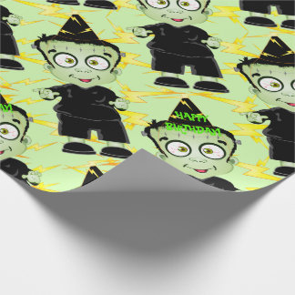 Cute Halloween Frankenstein Monster Birthday Party Wrapping Paper