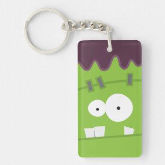 Cute Halloween Frankenstein Monster Face Double-Sided Rectangular Acrylic Keychain