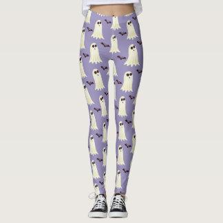 Cute Halloween Ghost & Bat Print Leggings