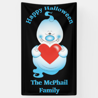 Cute Halloween Ghost Cartoon Banner