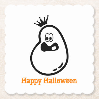 Cute Halloween Ghost with crown Paper Coaster