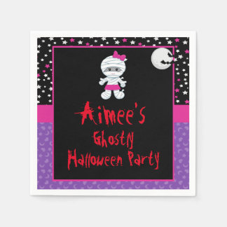 Cute Halloween Girl Mummy Halloween Party Paper Napkins