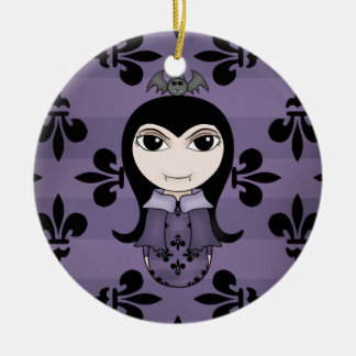 Cute Halloween gothic vampire girl in purple Ceramic Ornament