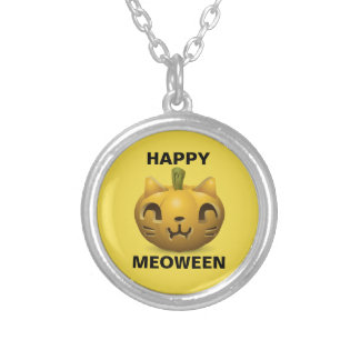 "Cute Halloween ""Happy Meoween"" Silver Plated Necklace"