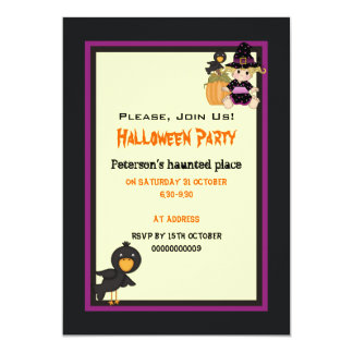 Cute Halloween haunted house and little witch Card