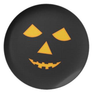 Cute Halloween Jack o Lantern Pumpkin Face Black Plates