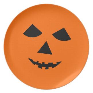 Cute Halloween Jack o Lantern Pumpkin Face Orange Plates