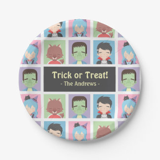 Cute Halloween Kid Monsters Pattern Party Supplies Paper Plate