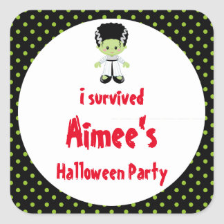 Cute Halloween Monster Girl Halloween 'I Survived' Square Sticker