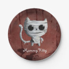Cute Halloween Mummy Cat Paper Plate