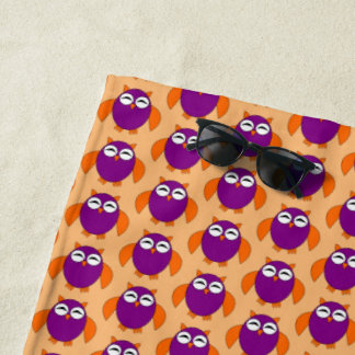 Cute Halloween Owl Beach Towel