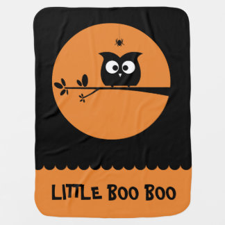 Cute Halloween Owl + customised background colours Baby Blanket