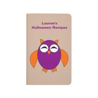 Cute Halloween Owl Customizable Recipe Journal