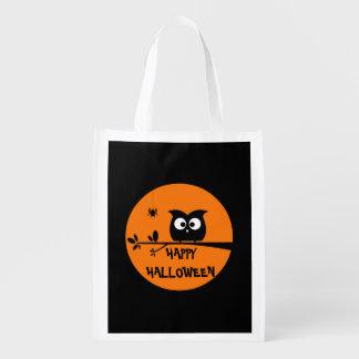 Cute Halloween Owl Reusable Grocery Bag