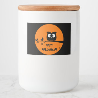 Cute Halloween Owl with customised Moon colours Food Label