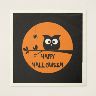 Cute Halloween Owl with customised Moon colours Napkin