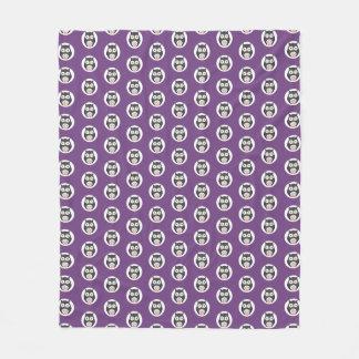 Cute Halloween owls on purple background Fleece Blanket