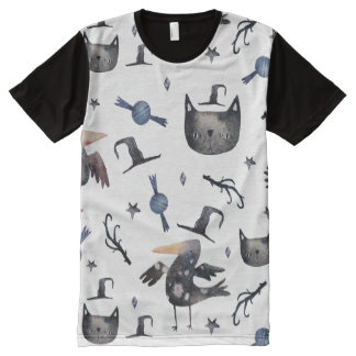 Cute Halloween Painted Patterns (Customizeable BG) All-Over-Print T-Shirt