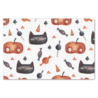 Cute Halloween Painted Patterns (Customizeable BG) Tissue Paper