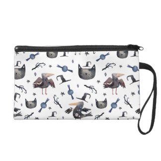 Cute Halloween Painted Patterns (Customizeable BG) Wristlet