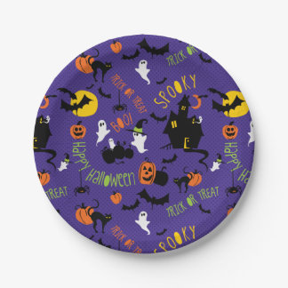 Cute Halloween Print Party Plates
