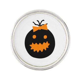 Cute Halloween pumpkin with bow Lapel Pin