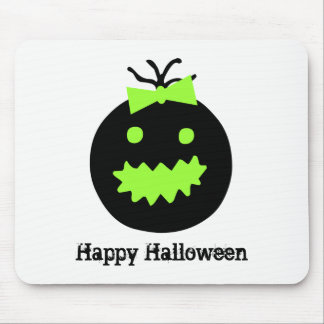 Cute Halloween pumpkin with bow Mouse Pad