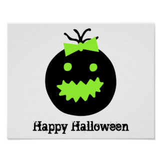 Cute Halloween pumpkin with bow Poster