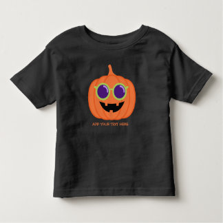 Cute Halloween Pumpkin with Hippie Glasses Toddler T-shirt