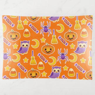 Cute Halloween Pumpkins Owls Spiders Pattern Trinket Trays