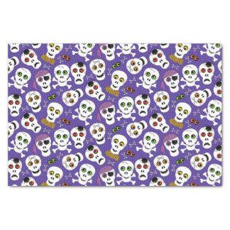 Cute Halloween Skulls on Purple Tissue Paper